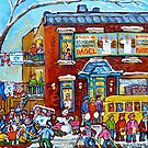 FAIRMOUNT BAGEL MONTREAL WINTER FUN CANADIAN  PAINTINGS by Carole  Spandau