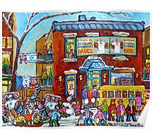 FAIRMOUNT BAGEL MONTREAL WINTER FUN CANADIAN  PAINTINGS Poster