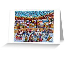TTHE SKATING PARTY WINTER COUNTRY FUN  Greeting Card