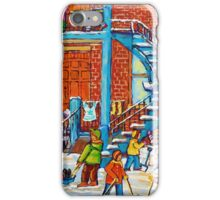 MONTREAL WINTER SCENE PORCHES AND BALCONIES STREET HOCKEY CANADIAN ART iPhone Case/Skin