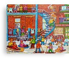 MONTREAL WINTER SCENE PORCHES AND BALCONIES STREET HOCKEY CANADIAN ART Metal Print