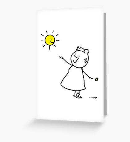 Happy singing stick lady wearing high heels, with smiling sun and star Greeting Card