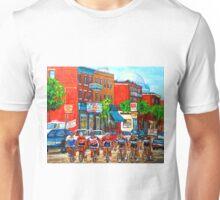 ST.VIATEUR STREET TOUR DE L'ILE MONTREAL CYCLISTS CANADIAN ART Unisex T-Shirt