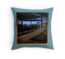Brighton Beach near restaurant - towards the city - Victoria - Australia Throw Pillow