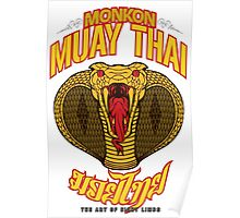 monkon muay thai cobra thailand martial art sport logo new color Poster