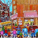 BEAUTY'S LUNCHEONETTE WITH YELLOW SCHOOL BUS IN WINTER by Carole  Spandau