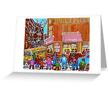 BEAUTY'S LUNCHEONETTE WITH YELLOW SCHOOL BUS IN WINTER Greeting Card
