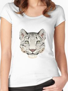 Snow Leopard Face Women's Fitted Scoop T-Shirt