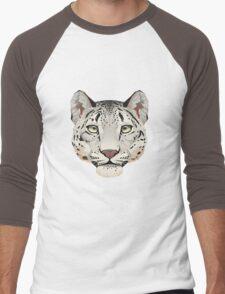 Snow Leopard Face Men's Baseball ¾ T-Shirt