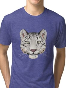 Snow Leopard Face Tri-blend T-Shirt