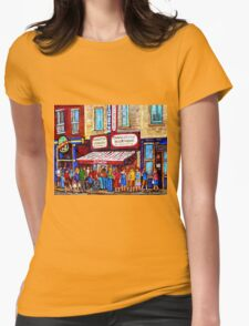 SCHWARTZ'S DELI SMOKED MEAT SANDWICHES MONTREAL Womens Fitted T-Shirt