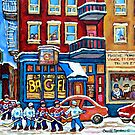ST.VIATEUR BAGEL MONTREAL WINTER HOCKEY GAME by Carole  Spandau