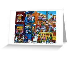 WILENSKY'S LUNCH COUNTER MONTREAL WINTER FUN IN NEIGHBORHOOD CANADIAN ART Greeting Card