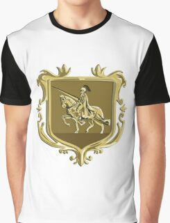 Knight Riding Steed Lance Coat of Arms Retro Graphic T-Shirt