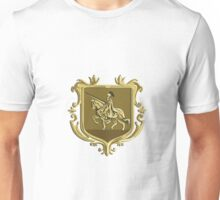 Knight Riding Steed Lance Coat of Arms Retro Unisex T-Shirt