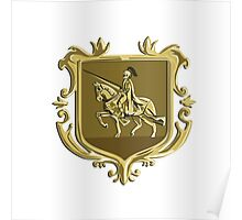 Knight Riding Steed Lance Coat of Arms Retro Poster