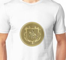 Knight Riding Steed Lance Coat of Arms Medallion Retro Unisex T-Shirt