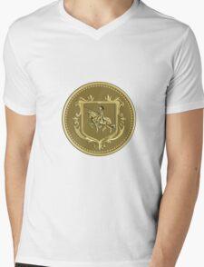 Knight Riding Steed Lance Coat of Arms Medallion Retro Mens V-Neck T-Shirt