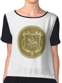Knight Riding Steed Lance Coat of Arms Medallion Retro Chiffon Top