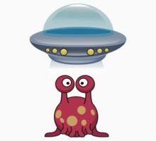 Red Cute aliens Baby Tee