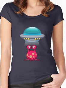 Red Cute aliens Women's Fitted Scoop T-Shirt