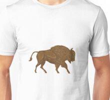 North American Bison Buffalo Charging Retro Unisex T-Shirt