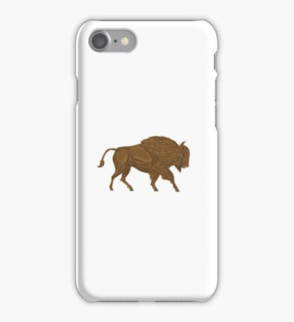 North American Bison Buffalo Charging Retro iPhone Case/Skin