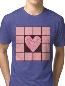 Pink Polka Dot Heart  Tri-blend T-Shirt