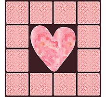 Pink Polka Dot Heart  Photographic Print