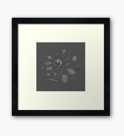 The Curse of Monkey Island Inventory (gray) Framed Print