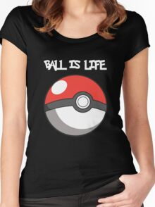 Pokeball is life! White text Women's Fitted Scoop T-Shirt