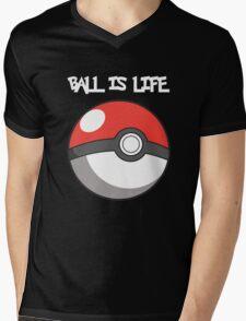 Pokeball is life! White text Mens V-Neck T-Shirt