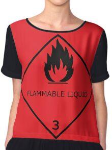 Flammable Liquid Sticker Chiffon Top