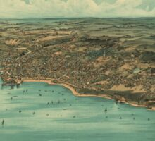 Vintage Pictorial Map of Plymouth MA (1910) Sticker