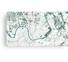 Nashville TN Map White Green Teal Canvas Print