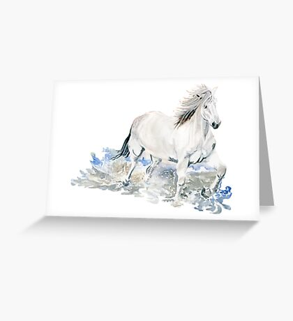Wild White Horse Greeting Card