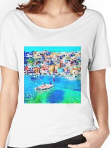 Beautiful,hand painted,watercolor,idyllic,village,sea shore,boat Women's Relaxed Fit T-Shirt