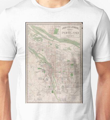 Vintage Map of Portland Oregon (1912) Unisex T-Shirt