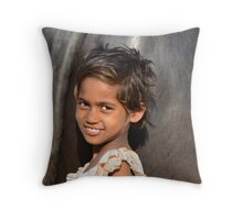 The Girl and the Water Buffalo Throw Pillow