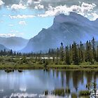 Vermillion Lake and Rundle Mountain by Vickie Emms