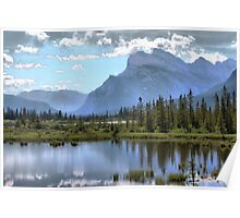 Vermillion Lake and Rundle Mountain Poster