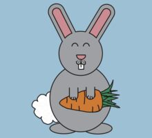 Cute Rabbit With Giant Carrot One Piece - Short Sleeve