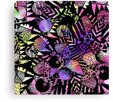 Geometric Retro Neon Watercolor Black Drawn Shapes Canvas Print