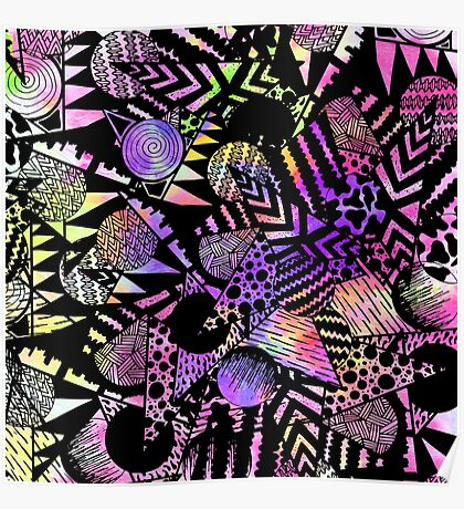 Geometric Retro Neon Watercolor Black Drawn Shapes Poster