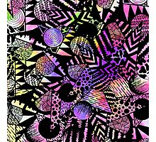 Geometric Retro Neon Watercolor Black Drawn Shapes Photographic Print