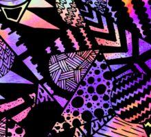 Geometric Retro Neon Watercolor Black Drawn Shapes Sticker
