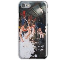Shearers at work in circa 1830's shearing shed iPhone Case/Skin