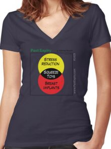 [Cartoon] Stress Reliever Women's Fitted V-Neck T-Shirt