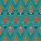 Argyle - Turquoise and Coral by Dana Roper