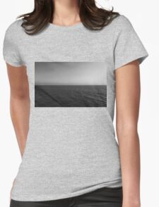 Clear Day Ocean Sky black & white  Womens Fitted T-Shirt